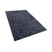 Teppich Kuhfell Braun / Blau 140 X 200 Cm Patchwork Kurzflor Ikisu