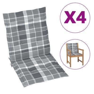 vidaXL Gartenstuhlauflagen 4 Stk. Grau Karomuster 100x50x4 cm