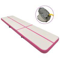 vidaXL Aufblasbare Gymnastikmatte mit Pumpe 800x100x20 cm PVC Rosa