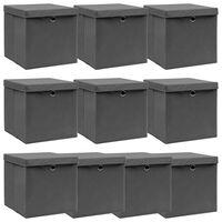 vidaXL Aufbewahrungsboxen mit Deckel 10 Stk. Grau 32×32×32 cm Stoff