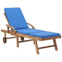 vidaXL Sonnenliege mit Auflage Massivholz Teak Blau