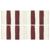vidaXL Tischsets 4 Stk. Chindi Gestreift Weinrot und Weiß 30 x 45 cm