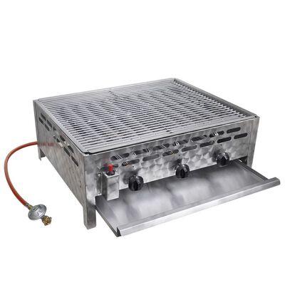 vidXL Gastro-Gasgrill 3 Brenner Edelstahl BBQ Bräter mit Bratblech