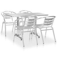vidaXL 5-tlg. Garten-Essgruppe Aluminium Silbern