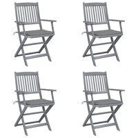 vidaXL Klappbare Gartenstühle 4 Stk. mit Sitzkissen Massivholz Akazie