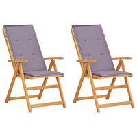 vidaXL Verstellbare Gartenstühle 2 Stk. Braun Massivholz Akazie