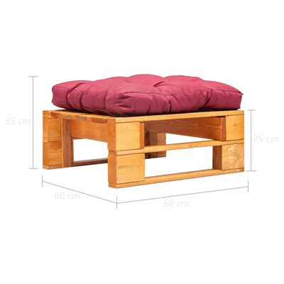 vidaXL Garten-Palettenhocker mit Rotem Kissen Holz Honigbraun
