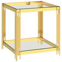 vidaXL Couchtisch Golden 55x55x55 cm Edelstahl und Glas