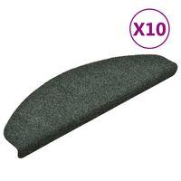 vidaXL Selbstklebende Treppenmatten 10 Stk. Grün 65x21x4cm Nadelvlies