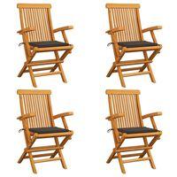 vidaXL Gartenstühle mit Taupe Kissen 4 Stk. Teak Massivholz