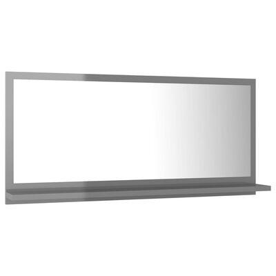 vidaXL Badspiegel Hochglanz-Grau 80x10,5x37 cm Spanplatte