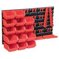 vidaXL 39-tlg. Behälter-Set für Kleinteile mit Wandplatten Rot Schwarz