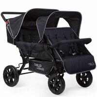 CHILDHOME Zwei-Mal-Zwei Vierlinge Kinderwagen Schwarz CWTB2