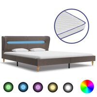 vidaXL Bett mit LED und Memory-Schaum-Matratze Taupe Stoff 180×200 cm
