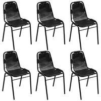 vidaXL Esszimmerstühle 6 Stk. Schwarz Echtleder