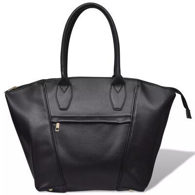 Quadratische Damentasche Schultertasche Handtasche Schwarz
