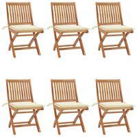 vidaXL Klappbare Gartenstühle mit Kissen 6 Stk. Massivholz Teak