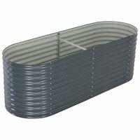 vidaXL Garten-Hochbeet 240 x 80 x 81 cm Verzinkter Stahl Grau