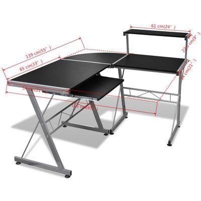 Computertisch Schreibtisch Arbeitstisch Ecktisch PC Tisch Büro schwarz, Black