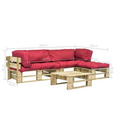 vidaXL 4-tlg. Garten-Lounge-Set Paletten Rote Auflagen Holz