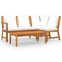 vidaXL 4-tlg. Garten-Lounge-Set mit Auflagen Creme Massivholz Akazie