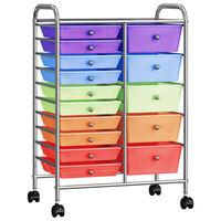 vidaXL XXL Schubladenwagen mit 15 Schubladen Mehrfarbig Kunststoff