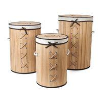 Set Mit 3 Bambus-wäschekörben Inkl. Wäschesack Mit Deckel,