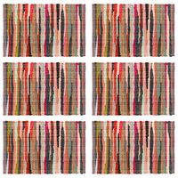 vidaXL Tischsets 6 Stk. Chindi Uni Mehrfarbig 30 x 45 cm Baumwolle