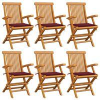 vidaXL Gartenstühle mit Weinroten Kissen 6 Stk. Massivholz Teak