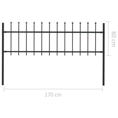 vidaXL Gartenzaun mit Speerspitzen Stahl 17 x 0,6 m Schwarz,