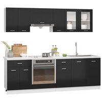 vidaXL 8-tlg. Küchenzeile Hochglanz-Schwarz Spanplatte