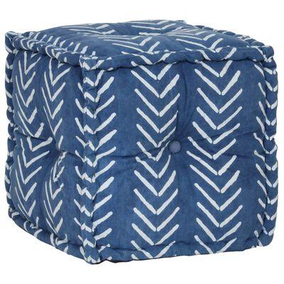 vidaXL Sitzwürfel mit Muster Handgefertigt 40 x 40 cm Indigo,