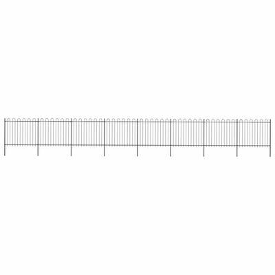 vidaXL Gartenzaun mit Bügel-Design Stahl 13,6 x 1,5 m Schwarz