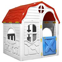 vidaXL Faltbares Kinderspielhaus mit Schließbarer Tür und Fenstern