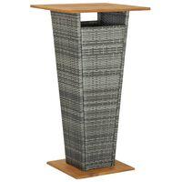 vidaXL Bartisch Grau 60x60x110 cm Poly Rattan und Massivholz Akazie