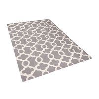 Teppich grau 140 x 200 cm marokkanisches Muster Kurzflor ZILE