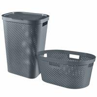 Curver 2-tlg. Wäschebehälter und Korb Set Infinity 40 L + 60 L Anthrazit