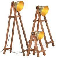 vidaXL Stehlampen 3 Stk. Messing E27 Mango Massivholz