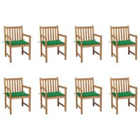 vidaXL Gartenstühle 8 Stk. mit Grünen Kissen Massivholz Teak