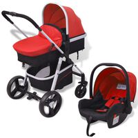 vidaXL 3-in-1 Kinderwagen Aluminium Rot und Schwarz