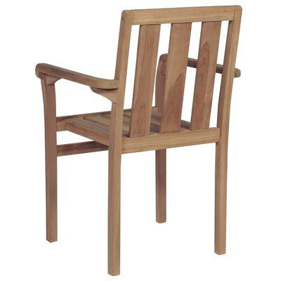 vidaXL Stapelbare Gartenstühle mit Kissen 6 Stk. Massivholz Teak