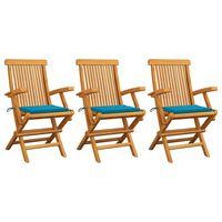 vidaXL Gartenstühle mit Blauen Kissen 3 Stk. Massivholz Teak