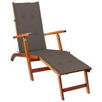 vidaXL Liegestuhl mit Fußstütze und Auflage Akazie Massivholz