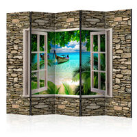 5-teiliges Paravent - Tropical Beach II  - 225x172 cm