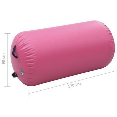 vidaXL Aufblasbare Gymnastik-Rolle mit Pumpe 120x90 cm PVC Rosa