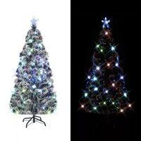 vidaXL Künstlicher Weihnachtsbaum mit Ständer/LED 180 cm Fiberoptik