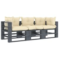 vidaXL Garten-Palettensofa 3-Sitzer mit Creme-Kissen Holz