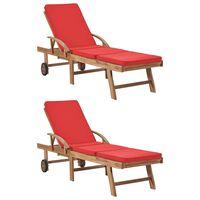 vidaXL Sonnenliegen mit Auflagen 2 Stk. Massivholz Teak Rot