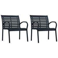 vidaXL Gartenstühle 2 Stk. Schwarz Stahl und WPC
