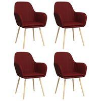 vidaXL Esszimmerstühle mit Armlehnen 4 Stk. Weinrot Stoff